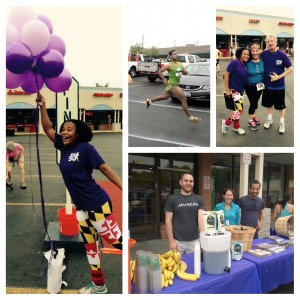 Picture collage showing CPCF board chair Tricia Homer holding balloons; runner Omar G. N. winning the Mother's Day 5K; Board Chair Tricia with OCE Director Gloria Aparicio Blackwell and College Park Mayor Andy Fellows; and Javazen and MOM's Organic Market providing refreshments to race participants.