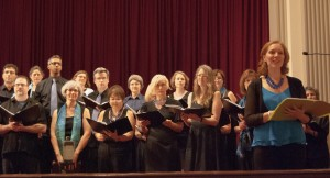 The College Park Chorale at a recent concert at University of Maryland. In the foreground is director Alison Hughes.